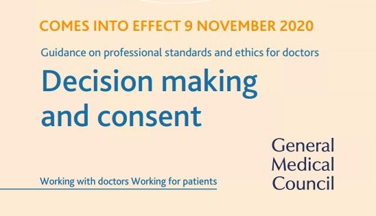 Front page of GMC document 'Shared decision making and consent'